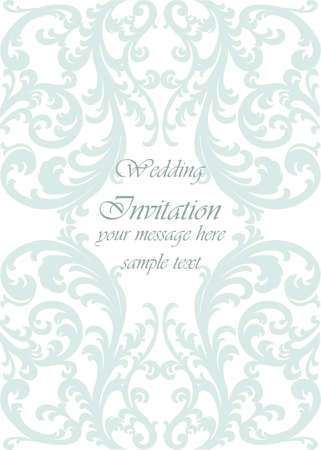 opal: Wedding Invitation card with lace ornament. Opal green color. Vector Illustration