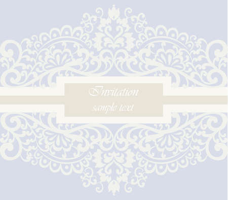duality: Wedding Invitation card with lace ornament. Serenity color. Vector