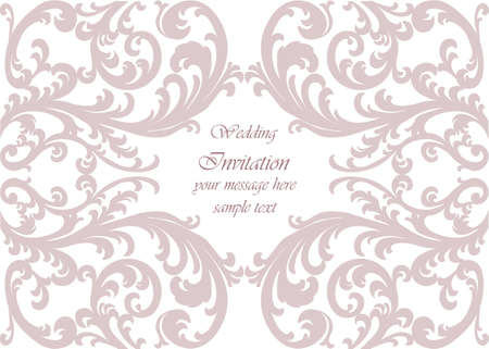 duality: Wedding Invitation card with lace ornament. Orchid color. Vector Illustration