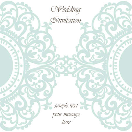 opal: Wedding Invitation card with lace ornament. Opal blue color. Vector Illustration