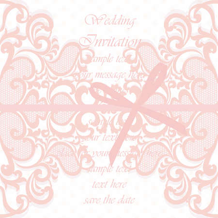 duality: Wedding Invitation card with lace ornament and bow. Rose quartz color. Vector