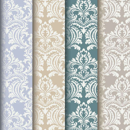graphic backgrounds: Vector floral damask pattern set background. Luxury classic floral damask ornament collection. Royal Victorian vintage texture for wallpapers, textile, fabric. Floral baroque