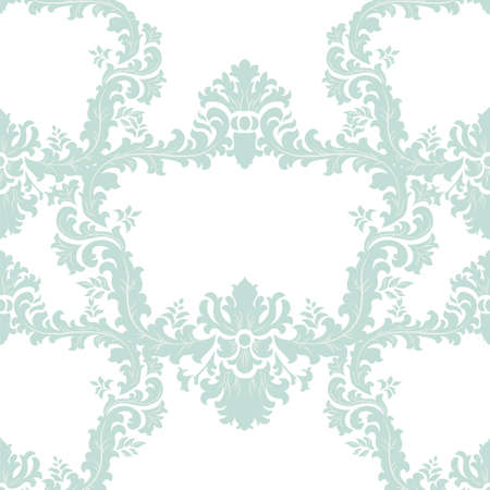opal: Vector Baroque floral damask ornament pattern. Elegant luxury texture for textile, fabrics or wallpapers backgrounds. Opal blue color