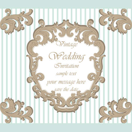 duality: Wedding Invitation card with classic royal ornament. Opal blue color. Vector