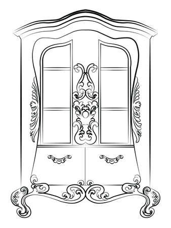 luxury furniture: Showcase cabinet with rich luxurious ornaments. Baroque Imperial luxury style furniture. Vector