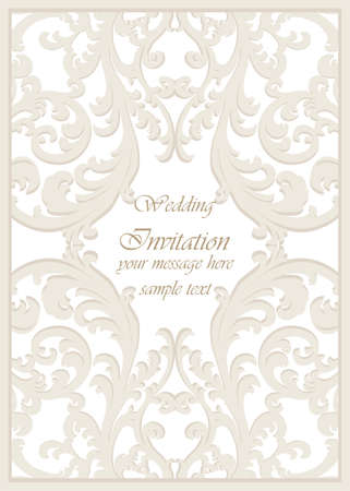 Vector Vintage Classic Wedding Invitation card Imperial style. Floral ornament background for design, wedding invitations, greeting cards, wallpaper. Cream color