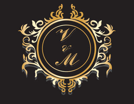 gold circle: Classic Golden Royal frame with ornaments. Vector Illustration