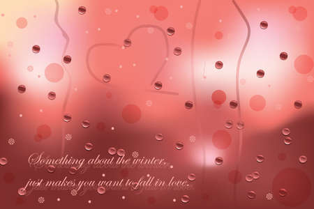 window shade: Winter card representing a Glass window with drops and snowflakes and heart. Winter Love text. Vector