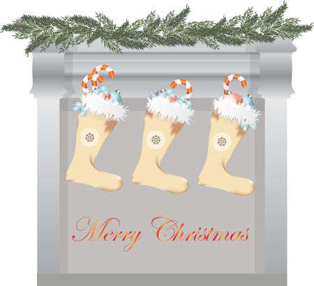 fireplace christmas: Merry Christmas fireplace and gifts socks. Vector