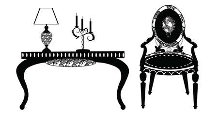 vintage furniture: Vintage Classic Style furniture set. Armchair, table, lamp. Vector sketch Illustration
