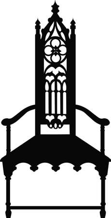 boudoir: Gothic style chair with ornaments. Vector sketch