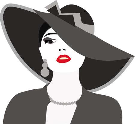 赤い唇と帽子と美しいエレガントな女性。ベクトル  イラスト・ベクター素材