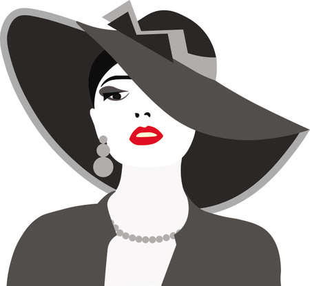 Beautiful Elegant Lady with red lips and hat. Vector