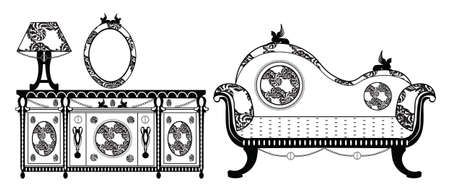 commode: Vintage Classic Style furniture set. Sofa and Commode table. Vector sketch Illustration
