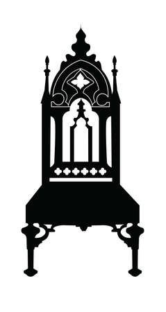 Gothic style chair with ornaments. Vector sketch