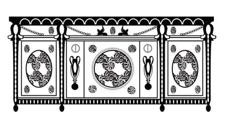 sideboard: Vintage Baroque Rich Commode table with luxurious ornaments. Vector