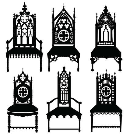 gothic style: Gothic style chairs set with ornaments. Vector sketch