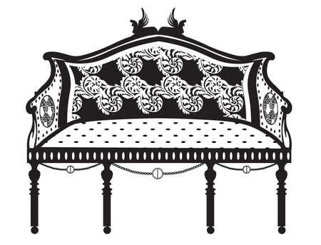 Conjunto De Muebles De Estilo Clásico De La Vendimia. Sofá Y Mesa De ...