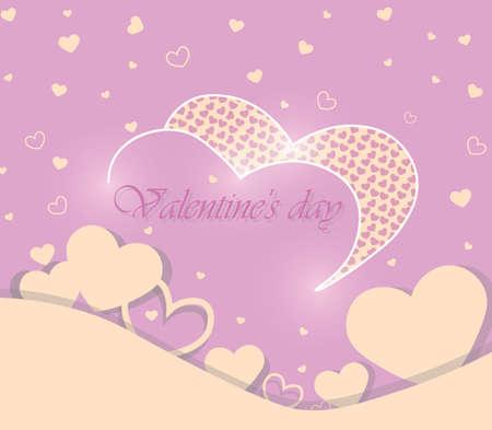 shinny: Valentine Day Greeting card shinny hearts. Vector