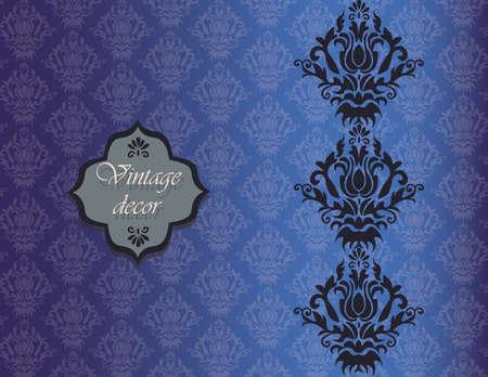 shinning leaves: Vintage damask decor invitation pattern background. Vector