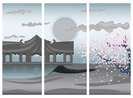 trilogy: Illustration of Chinese colorful landscape. Seaside and Cherry flower tree in a trilogy. Vector