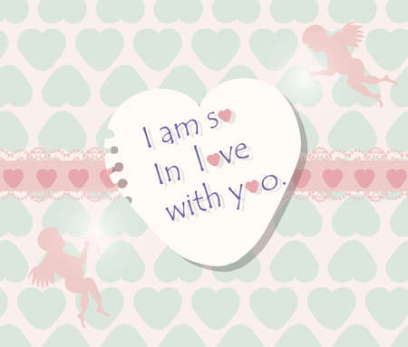 love wallpaper: Valentines day card with hearts and Cupid Angels. Vector