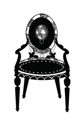 Vintage Classic chair in rounded shape with rich ornaments and upholstery pattern. Vector sketch