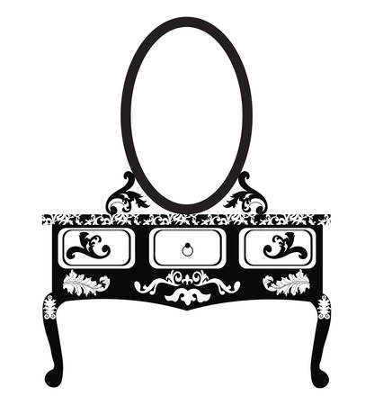 dressing table: Dressing table with mirror in Vintage style. Vector sketch