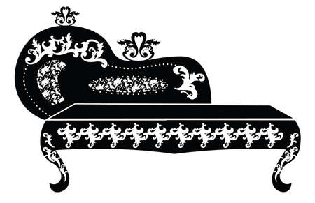 baroque room: Baroque style sofa for children room with rich ornaments in black. Vector sketch
