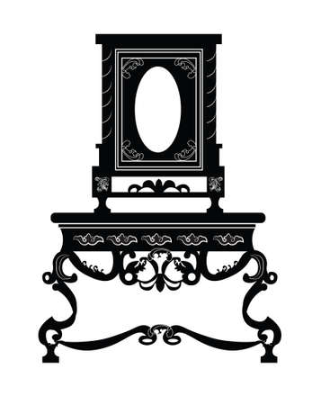 dinning table: Vintage baroque luxury style furniture. Vector Illustration