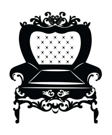 armchair: Vintage Rococo Classic Armchair with luxurious ornaments. Vector