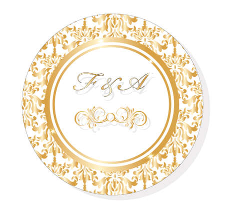 ornamented: Vector Classic Golden Round Lace damask ornamented Invitation card for wedding, ceremonies, party, certificates. Vector