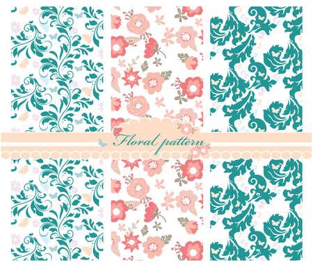 Primavera flores de colores de fondo patrón establecido. Diseño de tarjetas de invitación, decoración de ceremonia de la boda, papeles pintados, tejidos, telas, texturas, tela. Vector