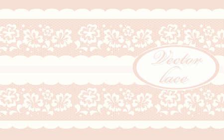 crochet: Invitation card with delicate crochet lace round ornament in rose quartz. Vector Illustration