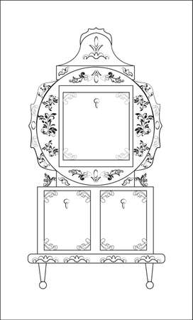 ornamented: Classic royal ornamented round glass case closet furniture in Biedermeier style. Vector Illustration
