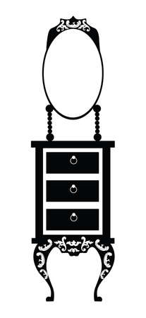 Baroque style dressing table with round shape rich ornaments in black. Vector sketch