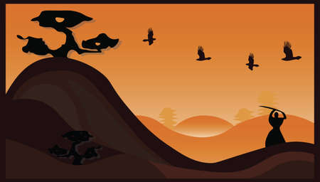 kendo: Japanese samurai illustration representing a samurai fighting at sunset. Vector Illustration