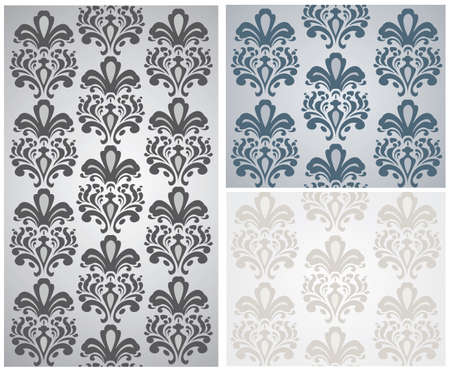 shinning leaves: Vector Baroque ornament pattern set. Design for wallpapers, textures or invitation card. Purple and gold color Illustration