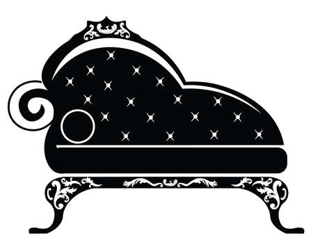 children room: Baroque style sofa for children room with rich ornaments in black. Vector sketch