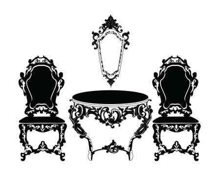 table set: Vintage Baroque chair and table set with luxurious ornaments. Vector
