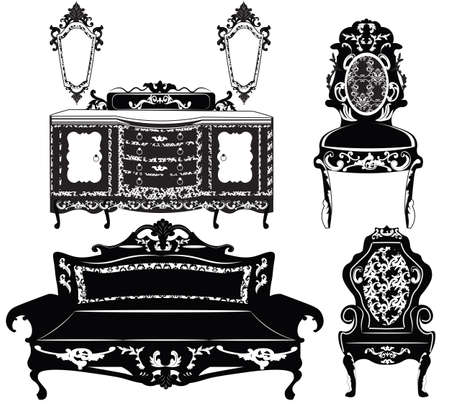 baroque furniture: Vintage Baroque furniture set with luxurious ornaments. Vector