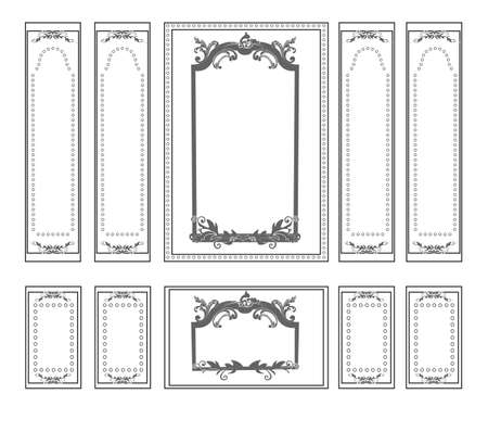 Decorative Ornamented frames for walls or backgrounds. Interior design decoration panels. Classic Baroque Vintage style. Vector frame Vettoriali