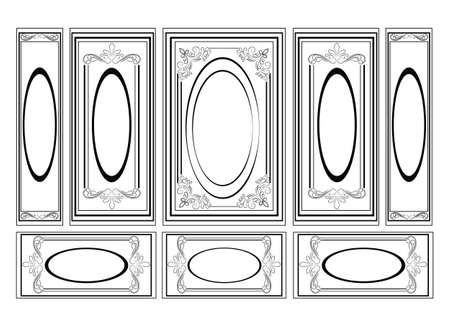 panels: Decorative Ornamented frames for walls or backgrounds. Interior design decoration panels. Classic Baroque Vintage style. Vector frame Illustration