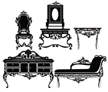 muebles barrocos de la vendimia fijada con adornos luxuus. Vector Ilustración de vector