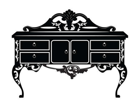 commode: Vintage Baroque Rich Commode Dressing table with luxurious ornaments. Vector