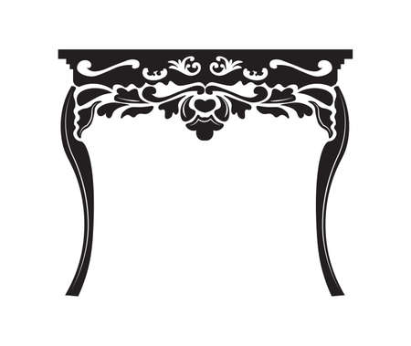 sideboard: Vintage Baroque Rich table with luxurious ornaments. Vector