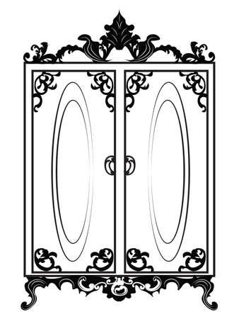Armadio epoca barocca Rich con ornamenti luxuus. Vettore Vettoriali
