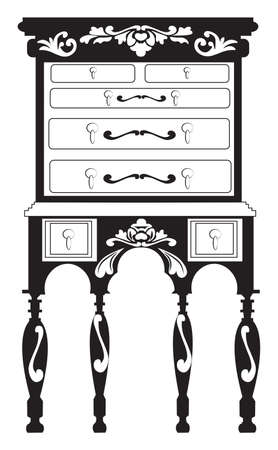 commode: Vintage Baroque Rich Commode table with luxurious ornaments. Vector