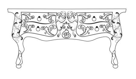 luxury furniture: Baroque Vector table furniture with Royal Luxury ornaments. Vector Illustration