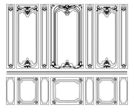 Decorative Damask Ornamented frames for walls or backgrounds. Interior design decoration panels. Classic Baroque Vintage style. Vector frame Stock Illustratie